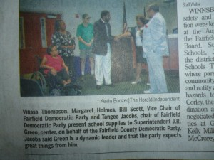 This newspaper clipping appeared in the Tuesday, Aug. 27th, 2013 edition of the Herald Independent, the main newspaper in my hometown. Featured in this clipping are myself and fellow members of the Fairfield County Democratic Party. On Tues., Aug. 20th, 2013, we presented Superintendent Dr. J. R. Green and members of the Fairfield County School Board with school supplies to be distributed among teachers in the area's public schools. Our donation was our way of giving back to the community. Being affiliated with an organization like FCDP and being recognized as a proactive resident in my community is one way I'm branding myself as a proactive, socially conscious individual.