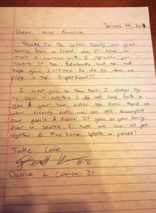 Derrick Coleman Letter (To Young Fan)