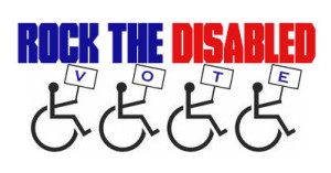 "Photo with the text, Rock the Disabled Vote.  Image has the disability symbol holding up signs, spelling out the word ""vote."""