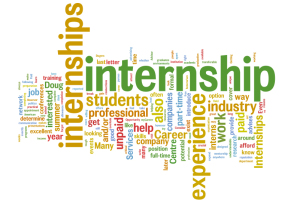 Image is an internship-themed word cloud, with words and phrases that relate to being an intern and/or the internship experience