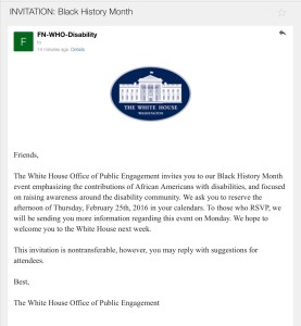 Official White House invitation to attend its Black History Month event