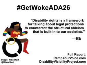 "White background with black text that reads: #GetWokeADA26 ""Disability rights is a framework for talking about legal protections to counteract the structural ableism that is built in to our societies."" —Eb. On the left-hand side is an image of a Black Wonder Woman character in a wheelchair. She has rainbow wristbands and a golden lasso by her wheel. Image: Mike Mort @MikeeMort. On the lower right-hand side: Full report: RampYouVoice.com DisabilityVisibilityProject.com"