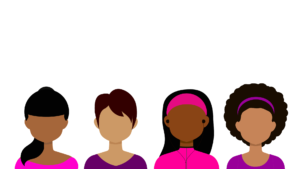 White background with drawings of 4 Black women from the shoulders up of various skin tones and hairstyles. Each woman is wearing an alternating pink or purple top.
